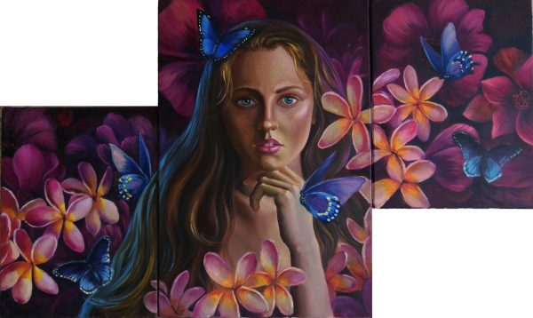Surrealistic portrait triptych «Departed love»