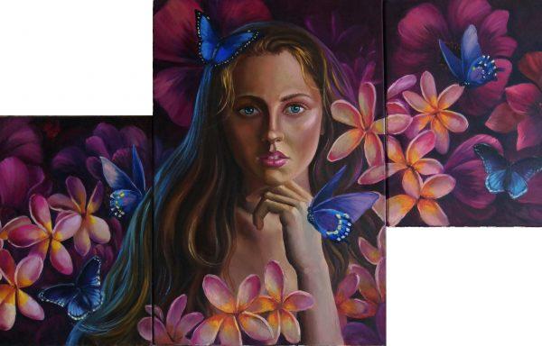 Surrealistic portrait triptych «Departed love»