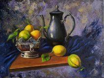Surrealistic still life with lemons.