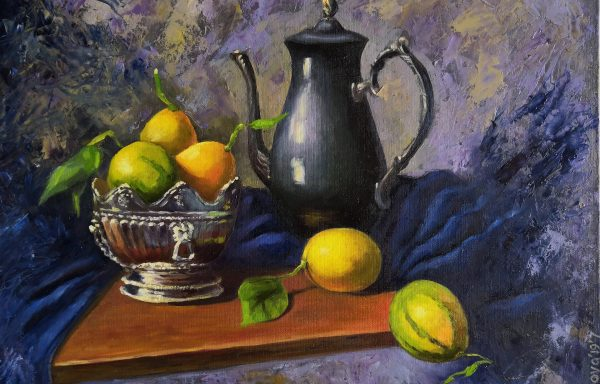 Surrealistic still life with lemons.
