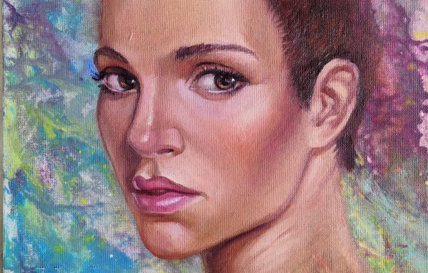 Oil painting on acrylic abstract background portrait of a girl «Lizzy»