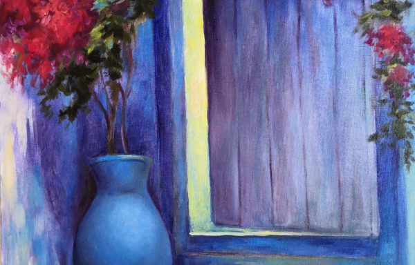 Blue picture for interior decoration Door on Santorini