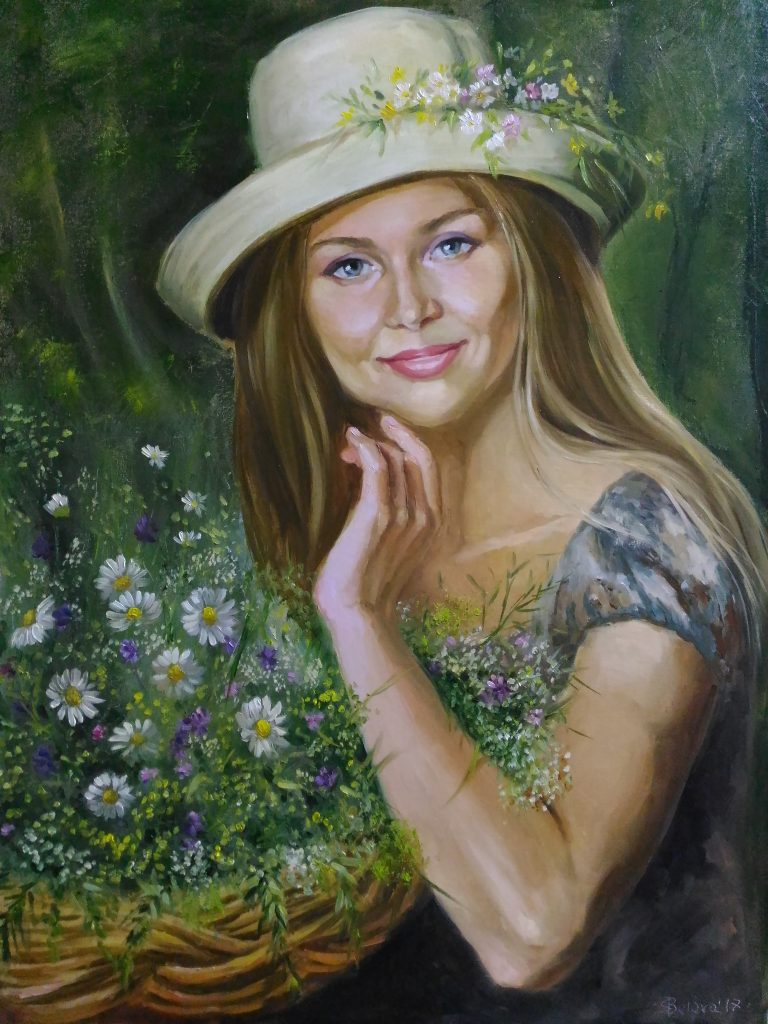 wonderful woman in a hat oil painting