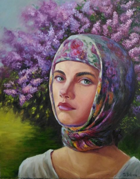 Romantic portrait of young girl «Aksinya and lilac»