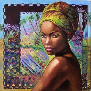 dark-skinned girl in a turban