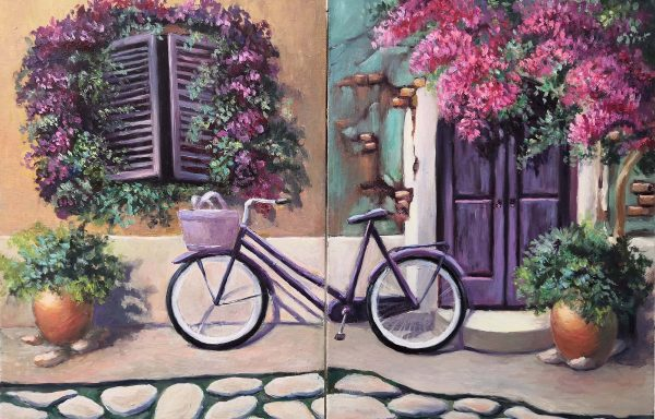 Romantic interior diptych with oil «Bicycle»