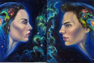 """Diptych in the style of surrealism """"Your choice"""""""