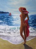 Original oil painting. Unique author's composition. Nude girl in a swimsuit and a red hat on the seashore.