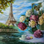 Eiffel Tower and Peony bouquet