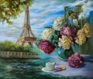 Original oil painting Eiffel Tower and Peony bouquet