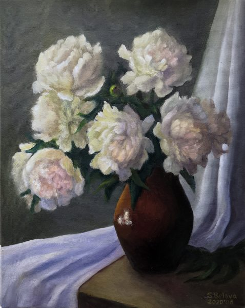 Peonies in a clay jug