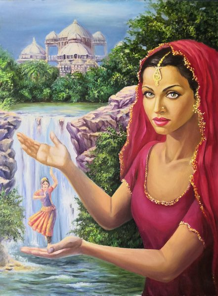 Indian girl in surreal oil painting. Aishwarya Rai, Taj Mahal, Indian goddess