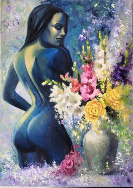 Surreal abstraction. Nude monochrome girl on a bright background with flowers. Large size. Canvas, oil. Interior wall decor.