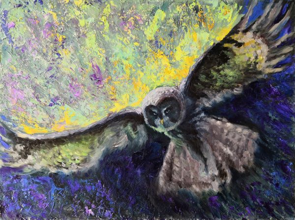Owl Painting Bird Original Art.Abstract Impasto Painting.Animal Wall Art.