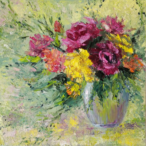 Abstract floral oil painting original