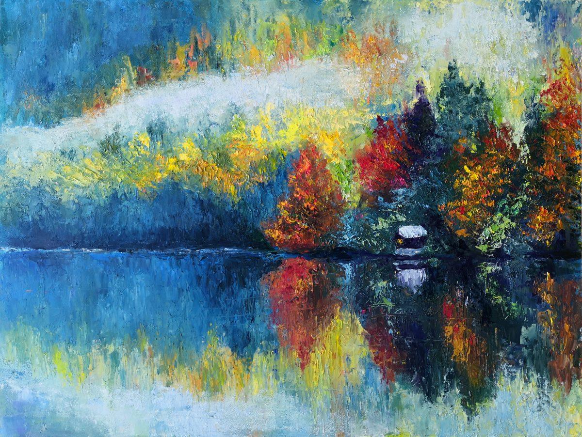 Abstract Autumn painting original.