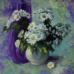 Oil painting with flowers. Camomile splash