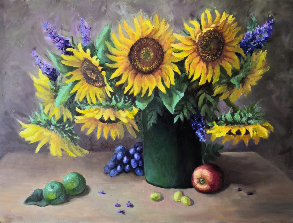 Sunflowers. Original oil painting, oil, mdf panel. An original still life with sunflowers for the interior. Classical painting in the style of realism.