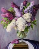 Lilac in a glass beaker