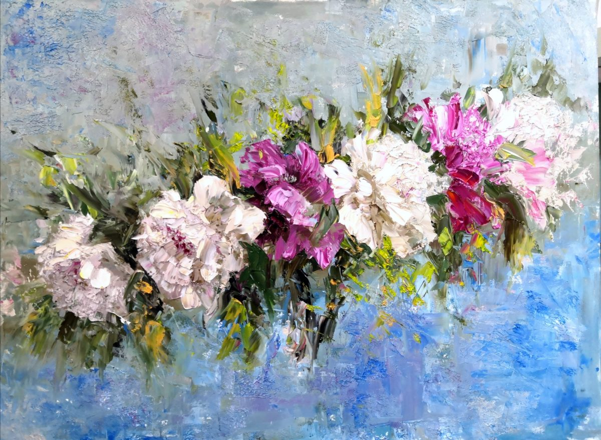 Abstract flower painting original