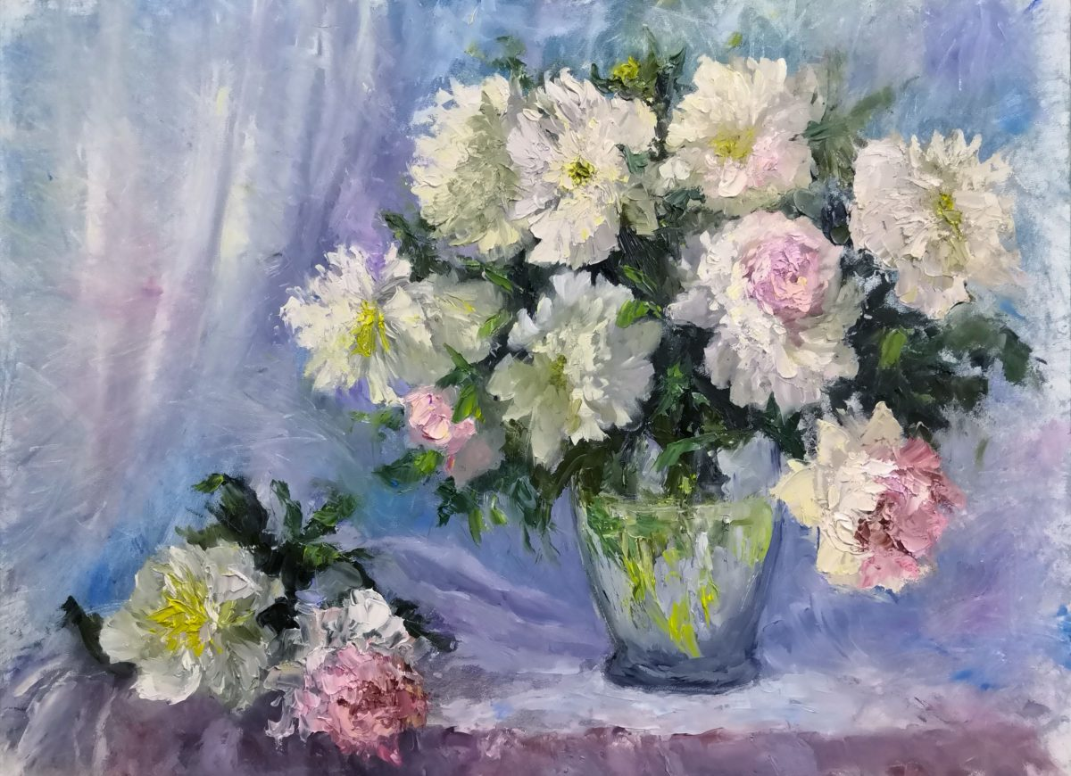 Floral impasto painting