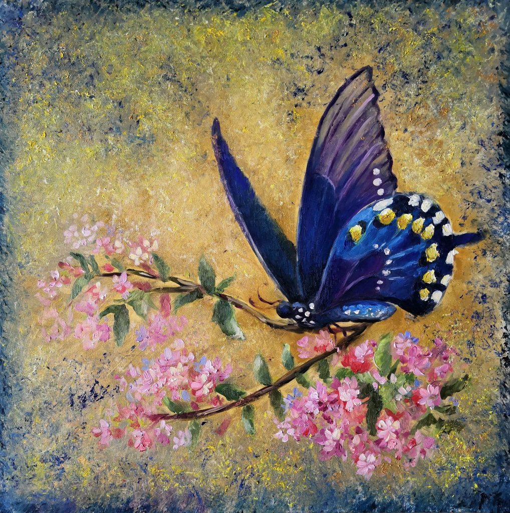Interior painting with a butterfly