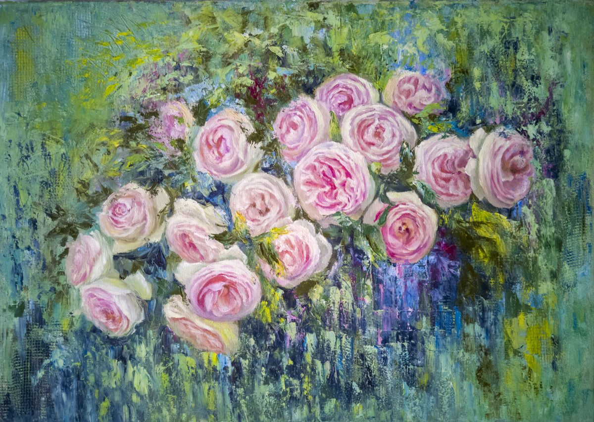 Semi-abstract oil painting. Roses in the garden.